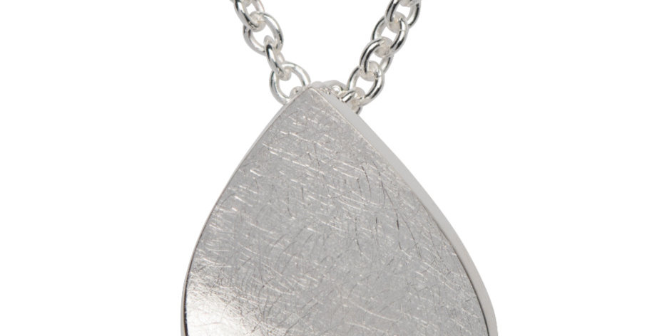 Contemporary Tear Drop Silver Pendant with CZ Accent, Brushed Finish