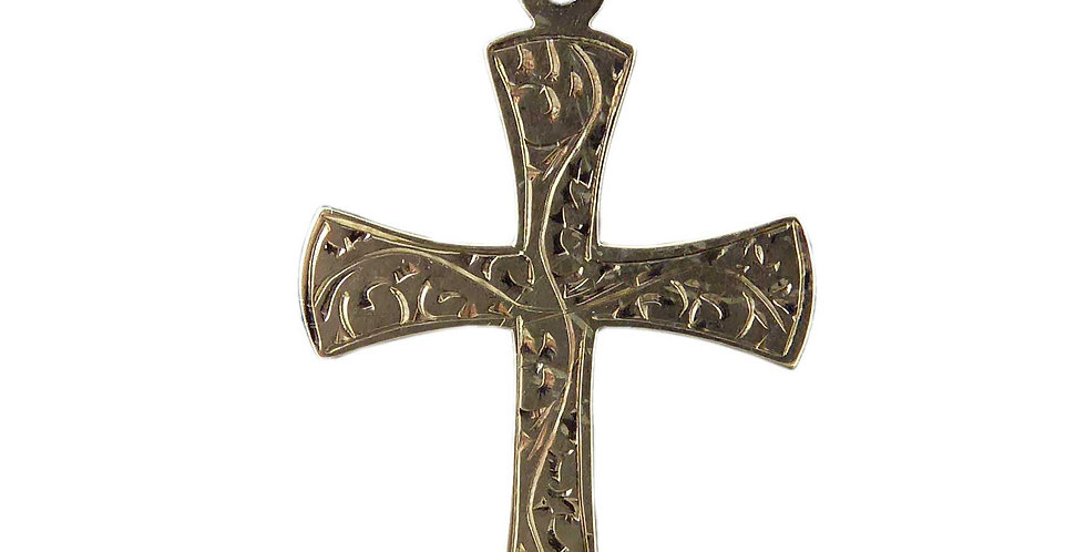Modern Vintage Yellow Gold Cross, Hallmarked London 1997