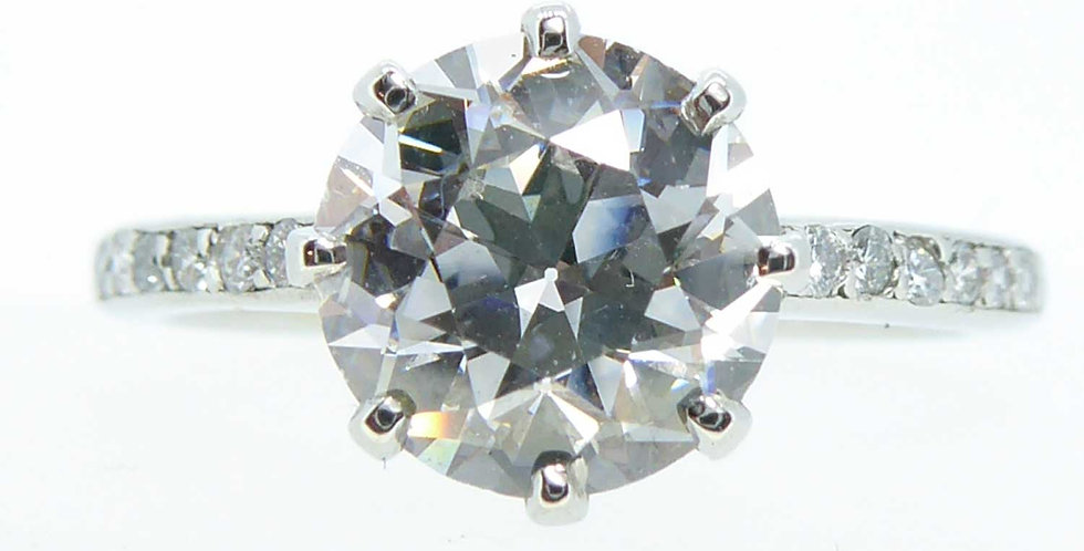 2.01 Carat Early Brilliant Cut Diamond, Platinum Solitaire Ring, Circa 1940's