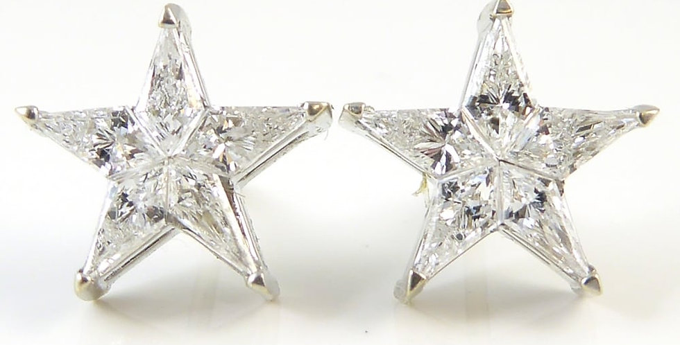 0.88ct Diamond Star Earrings in 18ct White Gold Pre-owned