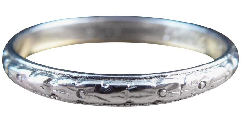 1940s Engraved Platinum Wedding Band with Dedication Initials and Date