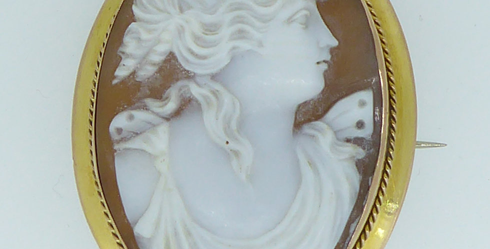 Antique Cameo Shell Brooch in Rose Gold Mount