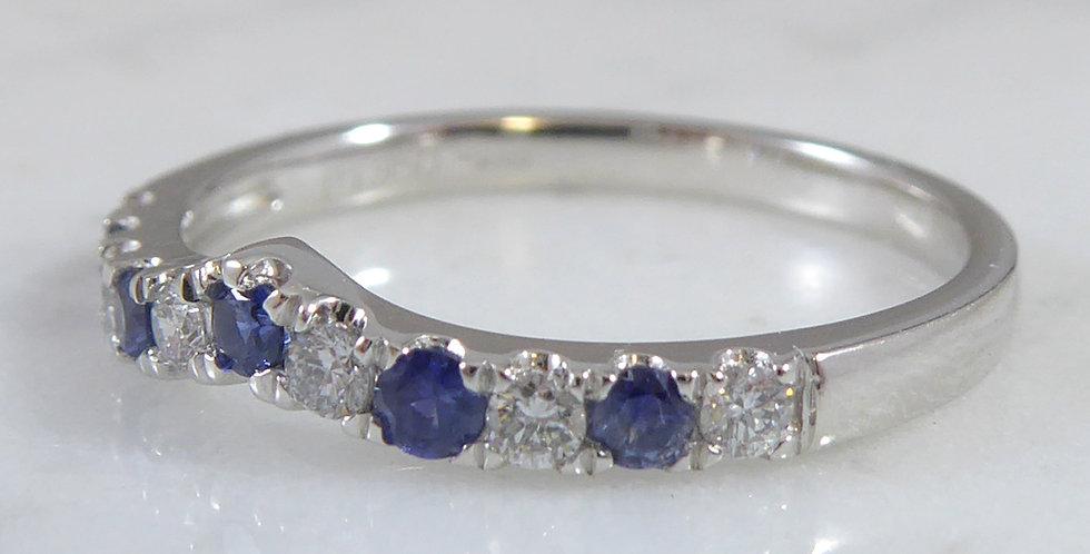 Sapphire and Diamond Wishbone Band Ring, New and Unworn, Platinum