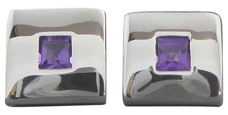 Contemporary Amethyst Stud Earrings, 18 Carat White Gold