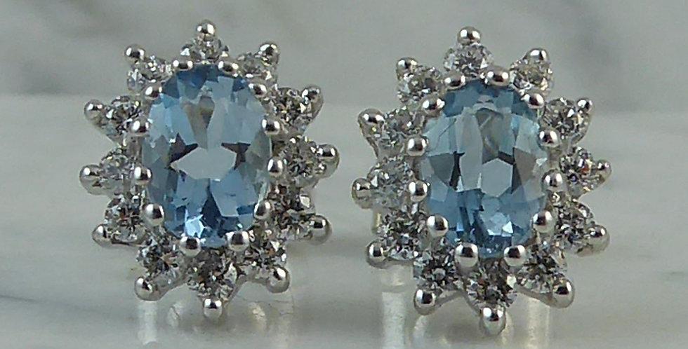 Aquamarine and Diamond Cluster Earrings, London 2010