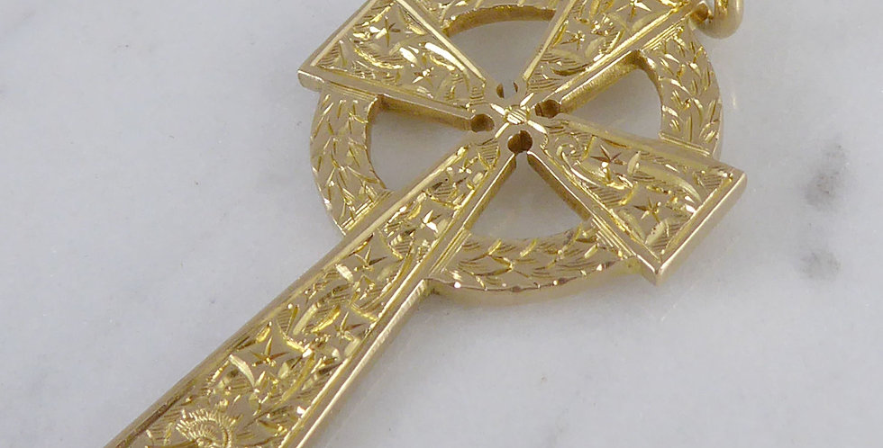 Antique gold celtic cross with engraved fron
