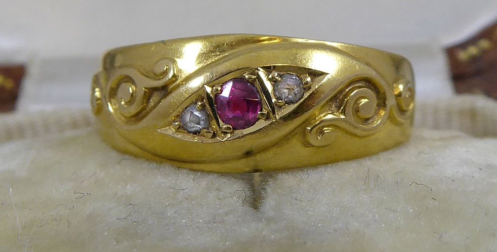 Antique Ruby and Diamond Ring, 18ct Yellow Gold, Hallmarked Chester  1900