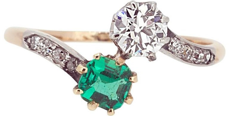 Old European Cut Diamond & Square Cut Emerald Cross-Over Twist Ring