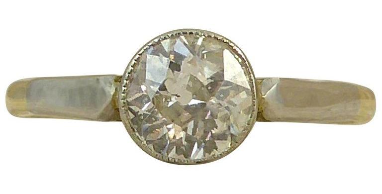 Art Deco Diamond Engagement Ring, Solitaire Old European Cut, 0.67 Carat