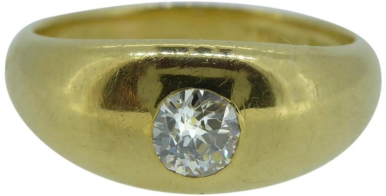 Antique Victorian Diamond Solitaire Ring, 0.25 Carat, Yellow Gold Domed Top