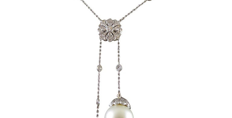 Vintage Cultured Pearl and Diamond Necklace
