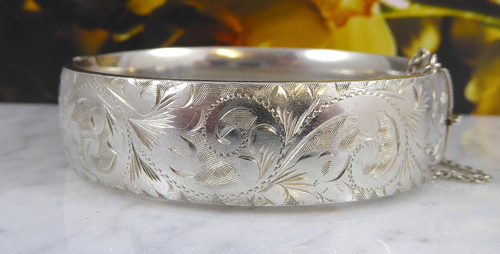 Vintage Sterling Silver Engraved Bangle, Hallmarked London 1965