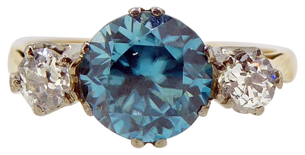 Vintage 1.87 Karat Blue Zircon Diamond Three-Stone Ring