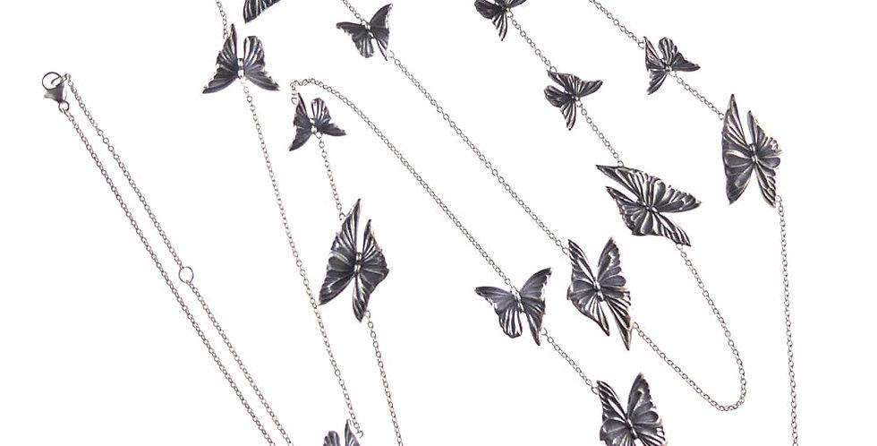 Vintage Georg Jensen Butterfly Necklace Silver Sautoir - Askill Design