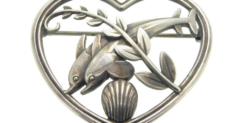 Vintage Georg Jensen silver brooch, leaping dolphins