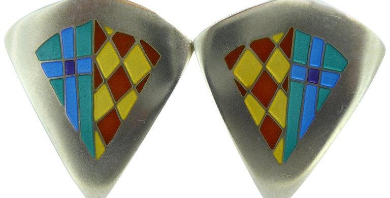 Vintage Earrings in Silver and Enamel, Jane Moore Designs, London, 1994