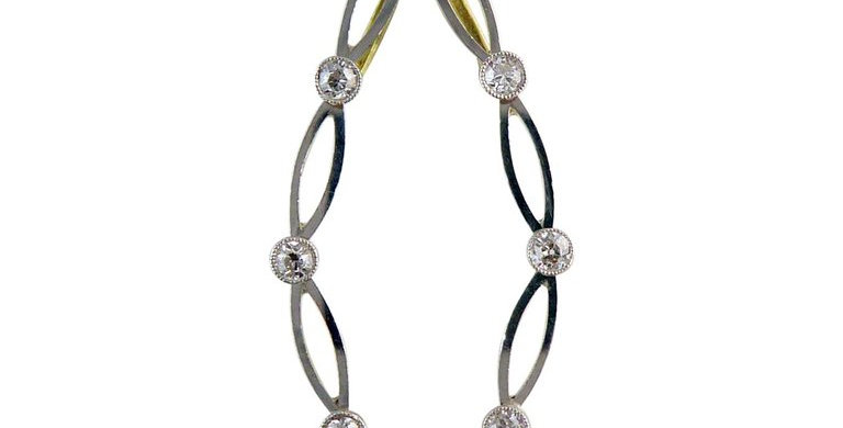 Vintage Art Deco Diamond Pendant, Platinum and Gold, circa 1930s, Platinum Chain