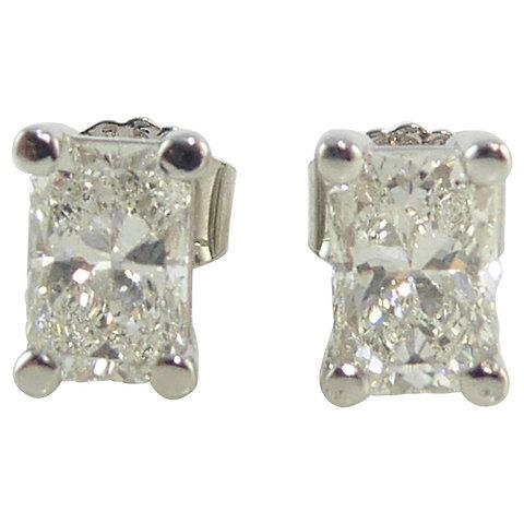 Pre Owned Diamond Earrings Radiant Cut Studs