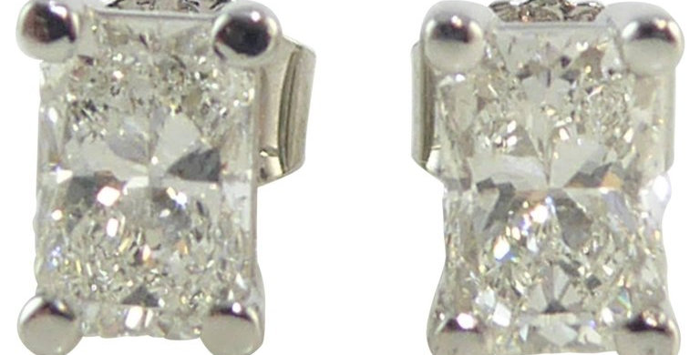 Pre-owned Diamond Earrings, Radiant Cut Diamond Studs 1.96ct