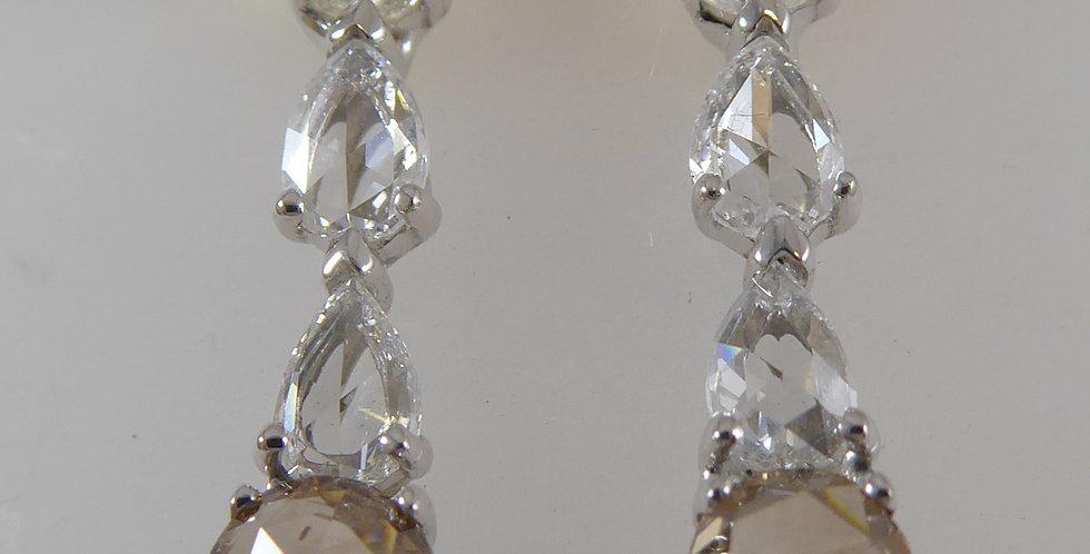 Rose Cut Diamond Earrings 1.27ct, Drop Style,  White Gold - NEW & UNWORN