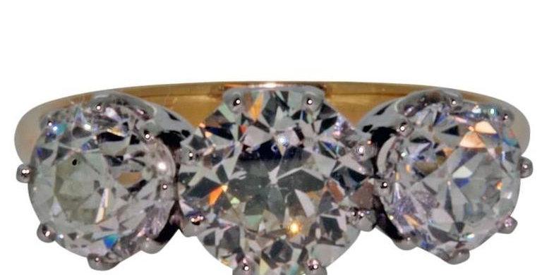 Antique 3.43 Carat Old Cut Diamond Three Stone Engagement Ring