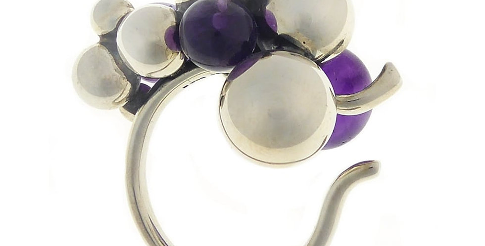 Pre-owned Georg Jensen Moonlight Grapes Amethyst and Silver Ring