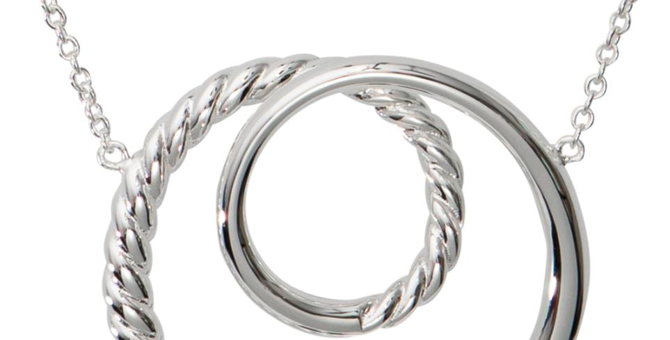 Avant Guarde Silver Pendant, Barley Sugar Twist and Plain Polished Design