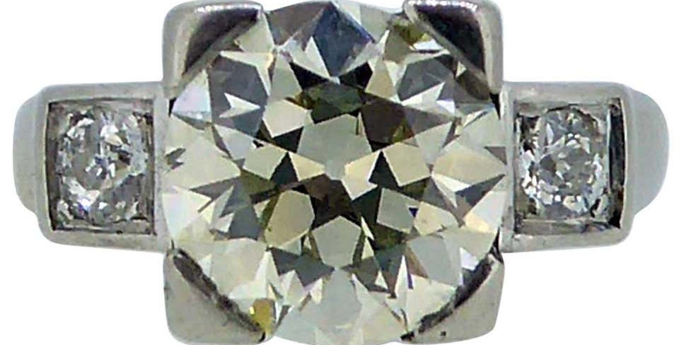 2.60 Carat Art Deco Diamond Ring, Early Brilliant/Old European Cut Diamonds