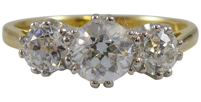 Vintage Engagement Ring with three old cut diamonds