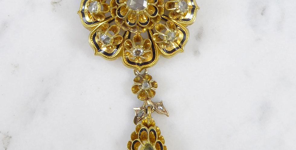 Early Victorian Diamond Set Pendant Brooch, Austro Hungarian, Circa 1866-1872