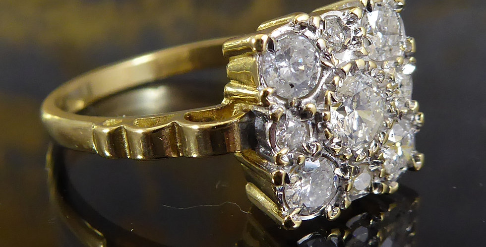 Vintage Diamond Square Cluster Ring in Yellow Golds