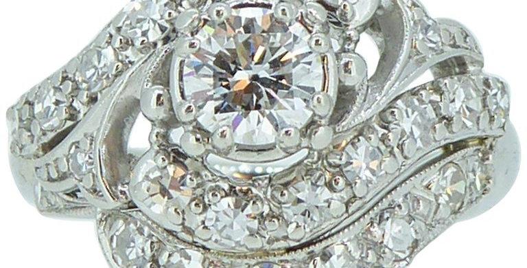 1.19 Carat Vintage Diamond Cluster Ring, Platinum
