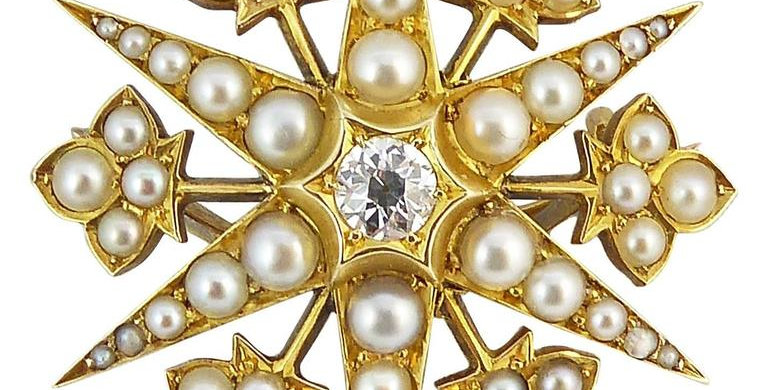 Antique Diamond Pendant Brooch, Pearls, 15 Carat, English Victorian