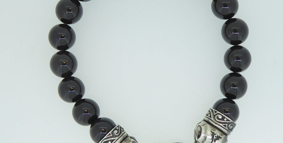 Contemporary Onyx Bead and Silver Bracelet, Raven Head Catch