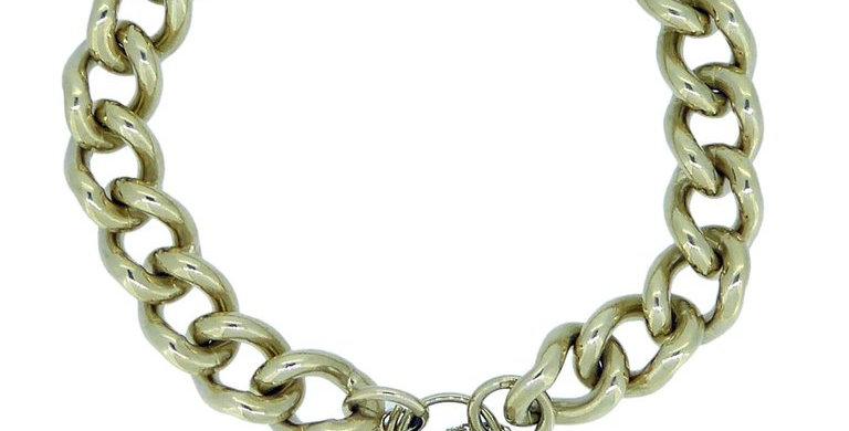 Vintage Gold Curb Link Bracelet, Padlock Closure, Yellow Gold