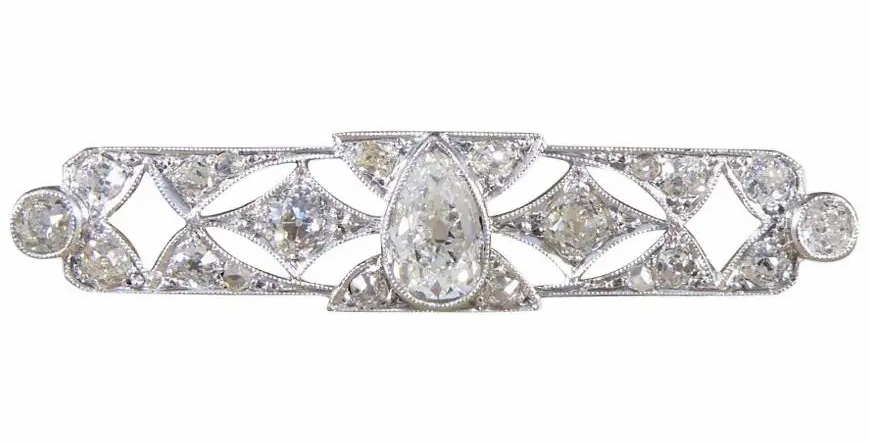 Art Deco diamond brooch with pear shaped diamond to the centre