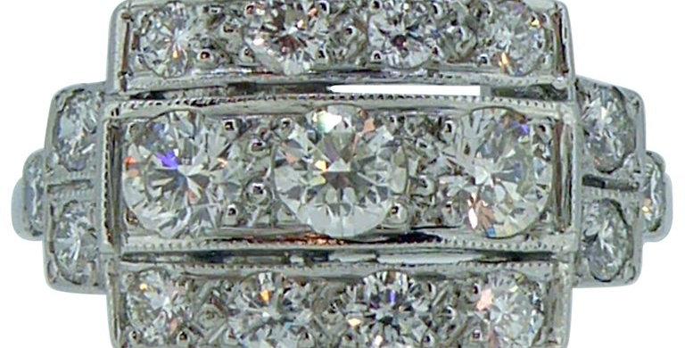 Art Deco 1.07 Carat Diamond Triple Row Ring, Platinum Band