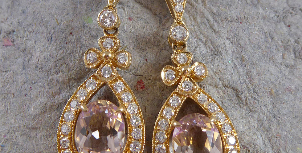 Pre-owned Drop Earrings set with Pear Shaped Morganite in Rose Gold