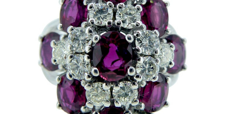 Vintage 1980s Ruby and Diamond Cluster Ring, White Gold