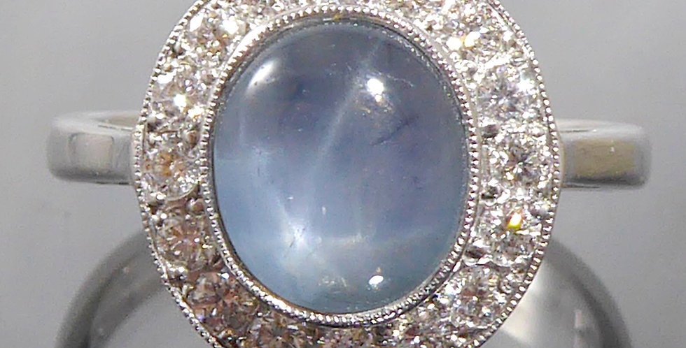 Vintage style star sapphire and diamond ring