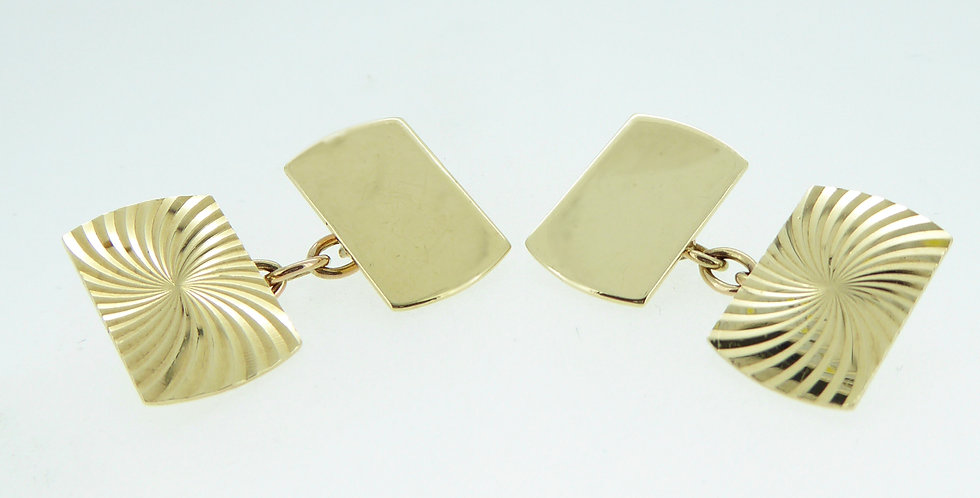 Vintage 1960's Gold Cufflinks, Hallmarked 9ct Gold, London 1966