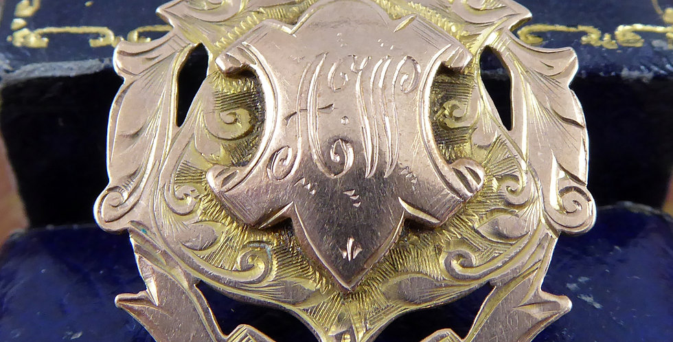 Antique Rose Gold Albert Pendant Shield, Hallmarked 1910