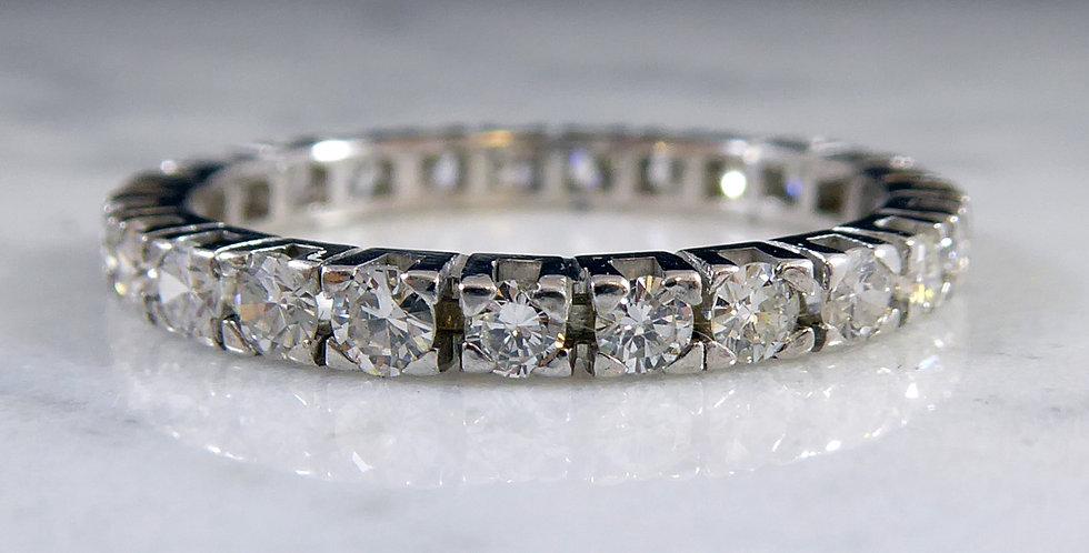 Diamond Set Full Eternity or Wedding Ring, 18ct White Gold
