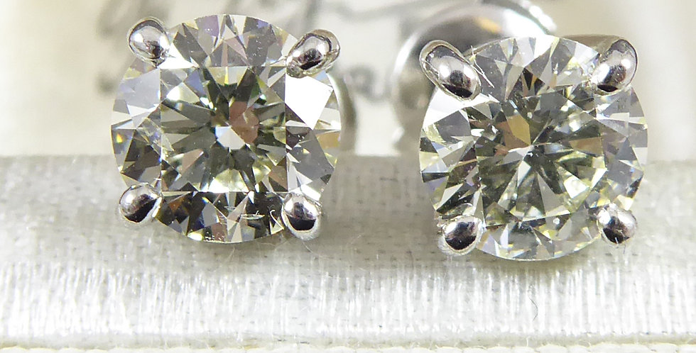 2.03 Carat Diamond Solitaire Earrings, Platinum
