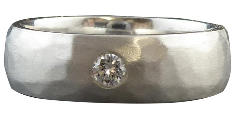 Modern Design Platinum and Diamond Band, Planished Finish, circa 2000