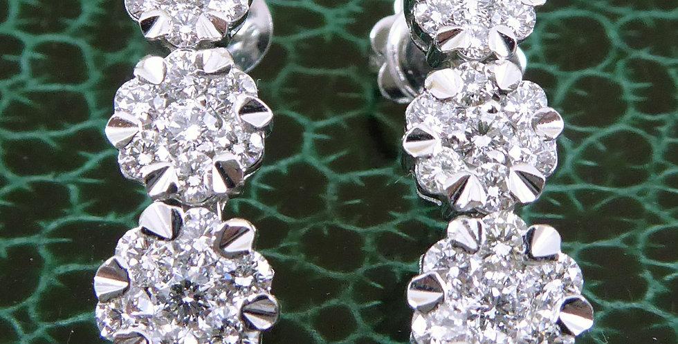 Modern diamond daisy drop earrings in white gold