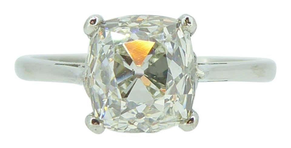 Antique Old Mine Cut Diamond Ring, 2.24ct, circa 1890s,  Solitaire in Platinum