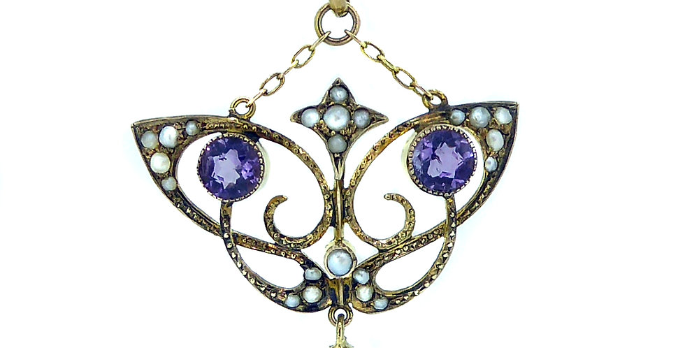Art Nouveau Pendant with Amethyst and Pearl, Edwardian Era