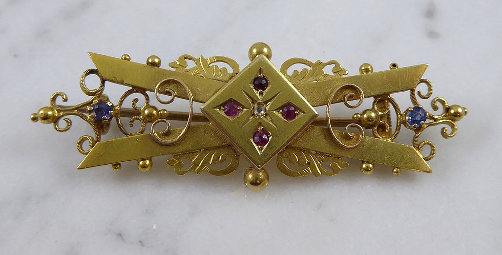 Antique Victorian Ruby Brooch, 15ct Gold, Chester 1901