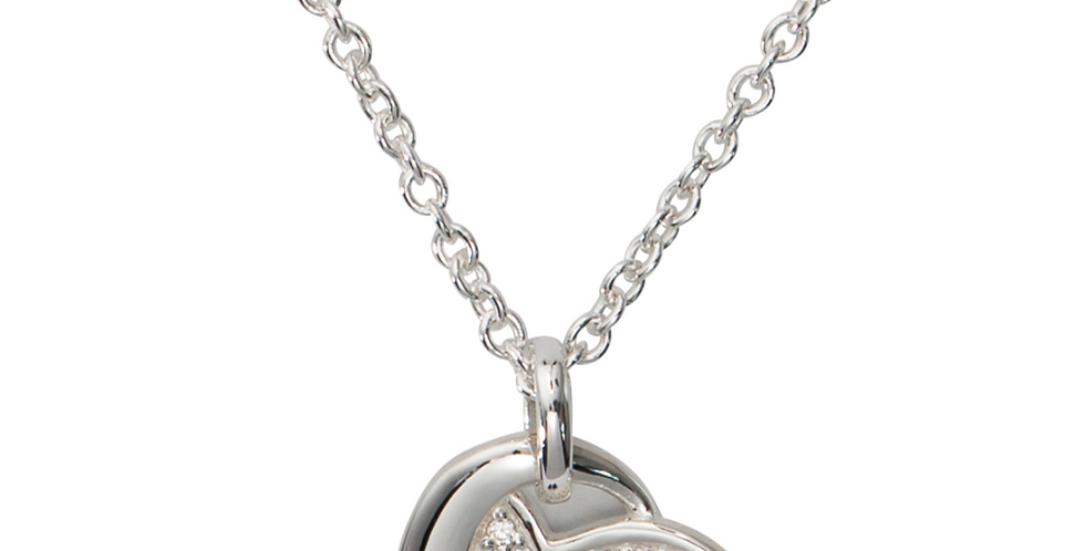 Modern, Sterling Silver Love Heart Necklace with Pave Cubic Zirconia Decoration